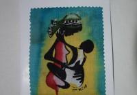 Biglietto in carta e batik dipinto