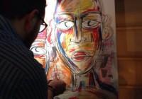 Enrico Rossi, in arte Ugo, alle prese con il suo live-painting nel corso della serata.